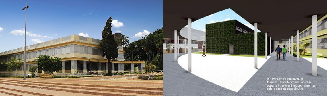 Antes e depois projeto Centro Cultural Marieta Telles Machado na praça cívica
