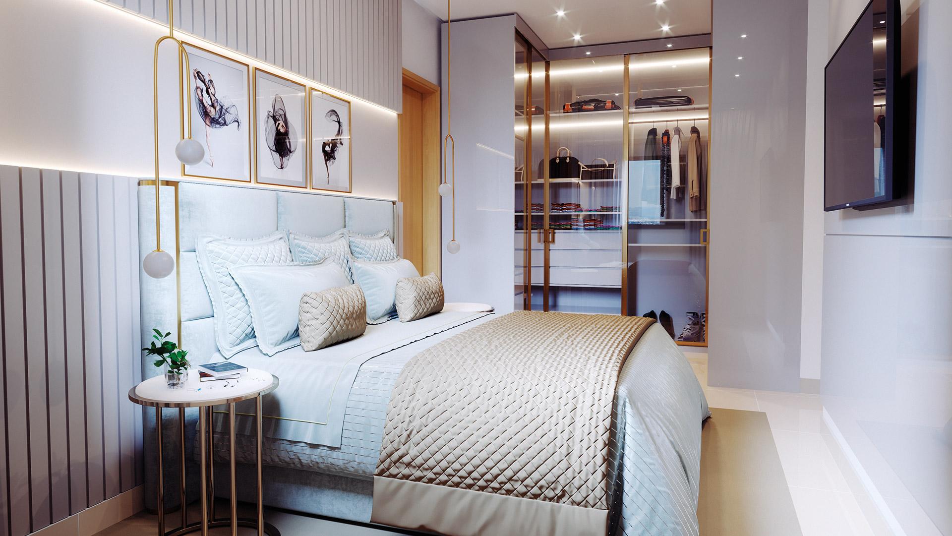 Suíte casal do apartamento 3Q – 85/88m²